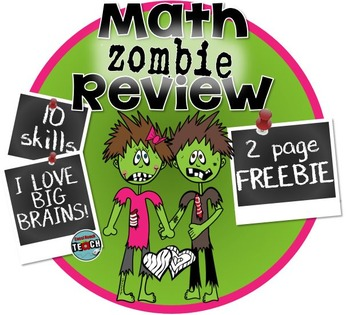 ~FREEBIE~ Valentine's Math Review with ZOMBIES