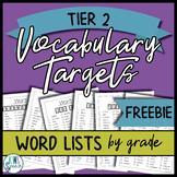 {FREEBIE} Vocabulary Targets Word List: K-5 (Tier 2 Words)