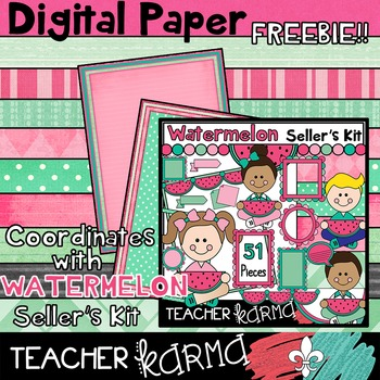 (FREEBIE) Watermelon Papers * Clipart * mint green & pink