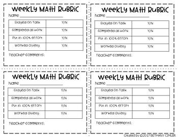 {{FREEBIE}} Weekly Math and Reading Rubrics