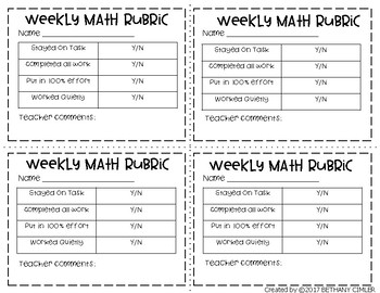 Math and Reading Rubrics | Free