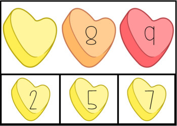 Candy Hearts Missing Numbers Task Box