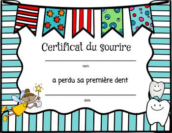 (FRENCH) Lost Tooth Bundle Including Monthly Posters and Certificate!