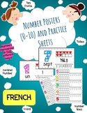 (FRENCH) Number Posters (0-10) and Practice Sheets