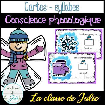 ☀️FRENCH☀️ Winter Phonological Awareness - Jeu de syllabes - hiver
