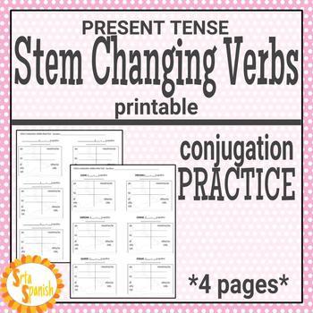 Present Tense Stem Changing Verbs Printable