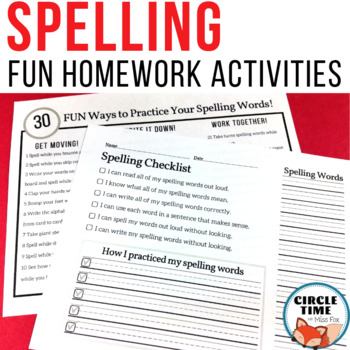 { FUN } Spelling Homework - Alternative to Traditional Spelling Practice