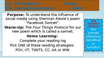 """Facebook Sonnet"" Sherman Alexie PowerPoint"