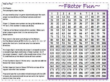 """""""Factor Fun"""" Prime Factorization Math Game (Grades 7-9)"""