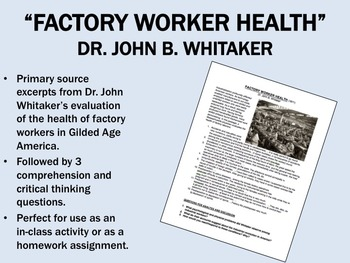 """Factory Worker Health"" - Gilded Age America - Industrial"