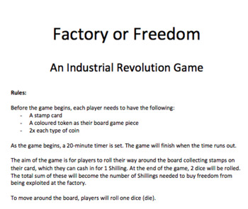 'Factory or Freedom' - An Industrial Revolution Game