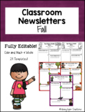 """Fall"" Classroom Newsletters- Fully Editable!"
