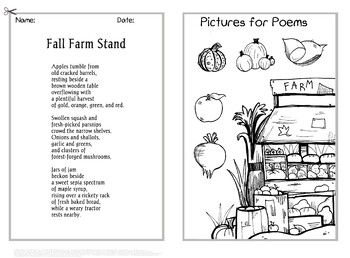 """""""Fall Farm Stand"""" Single Poem- Color, BW, Blank, and Journal Versions!"""