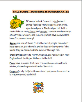 "Fall-Autumn  ""Fall Foods""-lesson plan, word scramble, art activity"