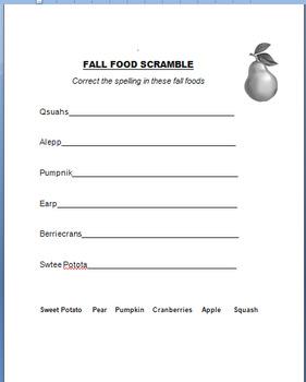"Fall-Autumn  ""Fall Foods""-lesson plan, word scramble, art activity"