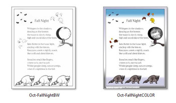 """""""Fall Night"""" Single Poem- Color, BW, Blank, and Journal Versions!"""