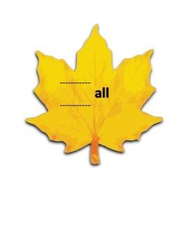 """Fall"" Rhyming Word Slider (Language and Literacy)"