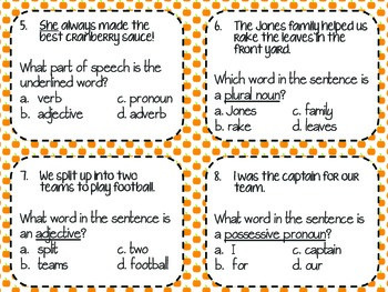 {Fall Themed Scoot} Mixed Parts of Speech