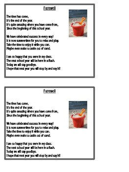 """""""Farewell"""" - Goodbye Poem for End of Year Gift"""