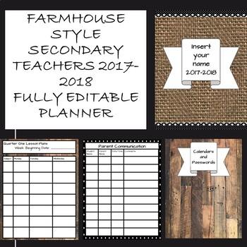 """""""Farmhouse look"""" fully editable 2017-2018 secondary teacher planner"""