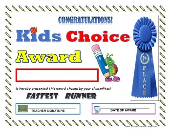 """Fastest Runner"" KIDS CHOICE AWARD- For Primary and Middle Grades Children!"