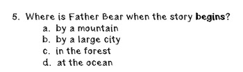 """""""Father Bear Comes Home""""; Reading Level L; 20 Comprehension Questions"""
