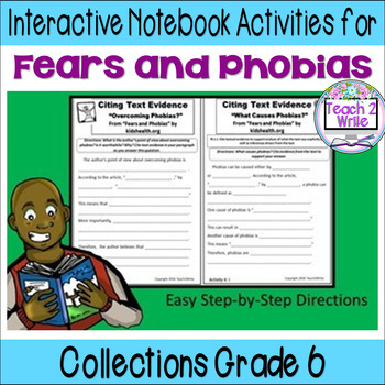 """Fears and Phobias"" Interactive Notebook ELA HMH Collections Grade 6"