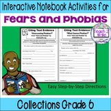 """""""Fears and Phobias"""" Interactive Notebook ELA Collections Grade 6"""