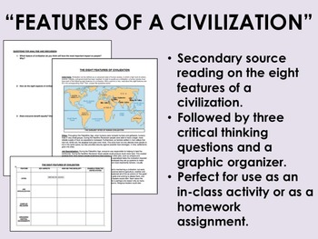 """Features of a Civilization"" Reading with Questions - Global/World History"