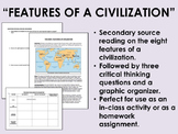 """""""Features of a Civilization"""" Reading with Questions - Global/World History"""