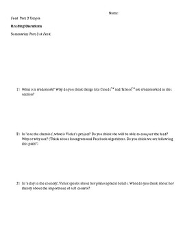 """""""Feed"""" Part 3 Critical Thinking Questions"""