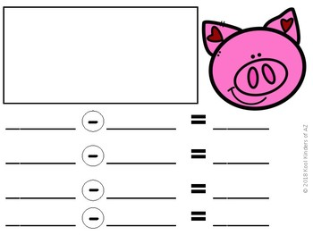 """""""Feed the Piggy"""" Valentine's Day Subtraction Center"""