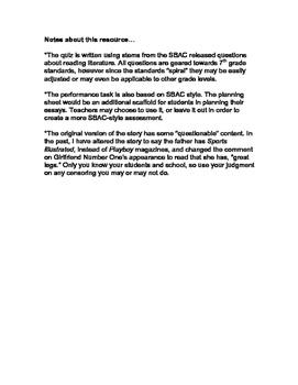 "SBAC Prep-using ""Feeding the Piranha"" short story"