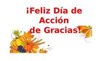 ¡Feliz Día de Acción de Gracias! Activity Set with La Ropa & La Comida vocab.
