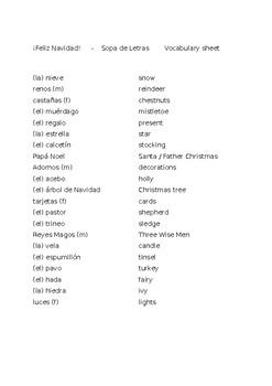 ¡Feliz Navidad!     -    Sopa de Letras