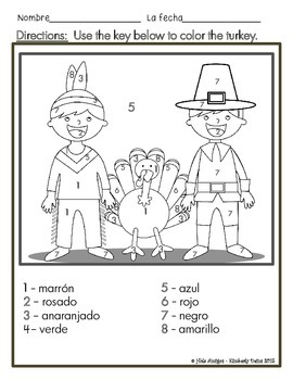 ¡Feliz Día del Pavo! Color by number in Thanksgiving Spanish. (5 pages)