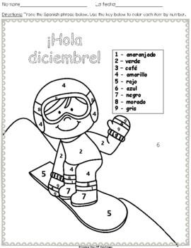 ¡Feliz diciembre! - Happy December!  Spanish Colors (6 pages)