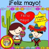 ¡Feliz mayo! 6 color by number pages(Cinco de Mayo)♥TWO WA