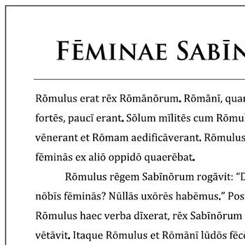 """""""Feminae Sabinae"""" Reading Passage and Activities"""