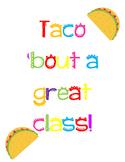 *Fiesta* Theme Bulletin Board/Door Decoration ^Taco 'Bout a Great Class!^