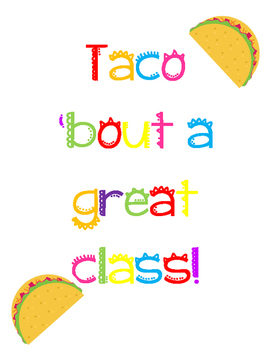 *Fiesta* Theme Bulletin Board/Door Decoration ^Taco 'Bout a Great Class!^