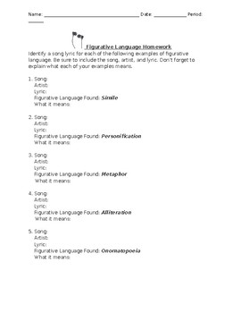 """Figurative Language in Music"" Homework"