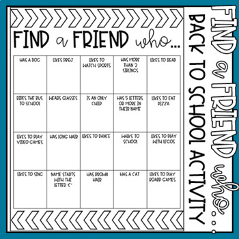 """""""Find A Friend Who..."""" EDITABLE Activity Freebie"""