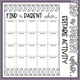"""Find A Parent Who..."" EDITABLE Activity"