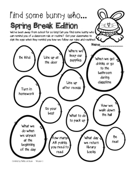 """Find Some Bunny Who"" After Spring Break Activity Freebie"