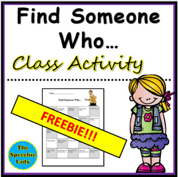 """Find Someone Who..."" Classroom Activity"