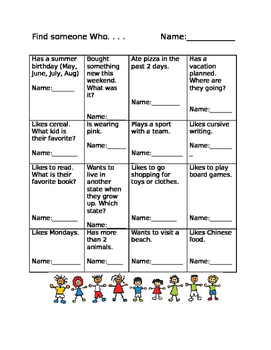 """Find Someone Who"" Kagan Class builder activity"