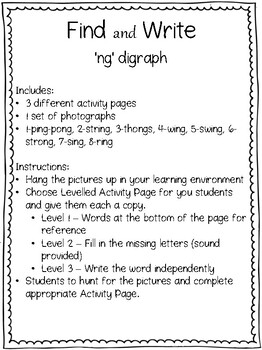 'Find & Write' 'ng' digraph 'Search the Room'