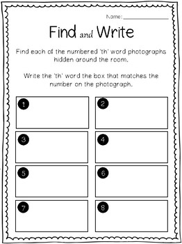 'Find & Write' 'th' digraph 'Search the Room'
