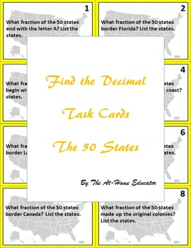 """""""Find the Fraction"""" Task Cards (The 50 States)"""